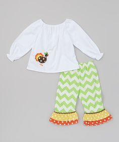 Take a look at this White & Green Turkey Top & Pants - Toddler & Kids on zulily today!