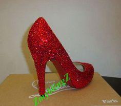 sparkly Bridal Heel, Red Crystal rhinestone Wedding Shoes-Closed Toe Heel Bridal Shoe, Custom Wedding Heel-leather heel red bottom high heel