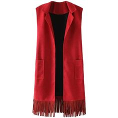 Red Suedette Tasseled Hem Longline Vest (€49) ❤ liked on Polyvore featuring outerwear, vests, red waistcoat, red vest, long line vest, vest waistcoat and faux suede vest