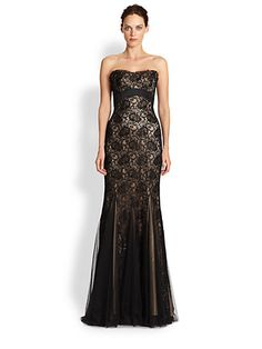 So lovely. Theia Strapless Beaded Lace Gown. If only I had $895 to spend on one evening, I'd totally wear this to a friend's black tie wedding