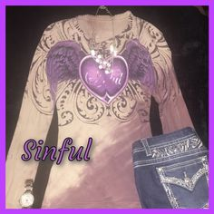 One of a kind Women's Sinful long sleeved shirt Beautiful women's purple Sinful shirt. In excellent condition.  Size small. Sinful Tops Tees - Long Sleeve