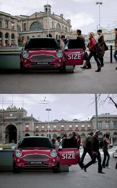 Mini Cooper at the top of subway stairs so it looks like they're all getting into / out of the car