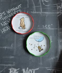 Fridge magnets Winnie the pooh upcycled jar lids by LottiesSewKnit