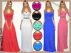 Three Quarter Sleeve Off the Shoulder Dress by melisa inci at TSR • Sims 4 Updates