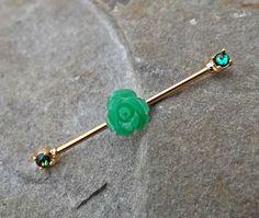 Fire Opal Industrial Barbell Green Rose Gold 14ga Body Jewelry Scaffold Ear Jewelry Double Piercing Upper Ear Jewelry