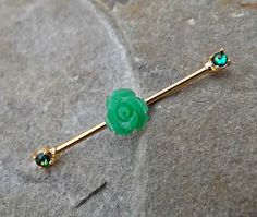 Fire Opal Industrial Barbell Green Rose Gold 14ga Body Jewelry Scaffold Ear Jewelry Double Piercing Upper Ear Jewelry