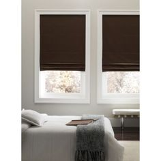Real Simple® Cordless Fabric Roman Shades - BedBathandBeyond.com--chocolate, ivory or taupe $199