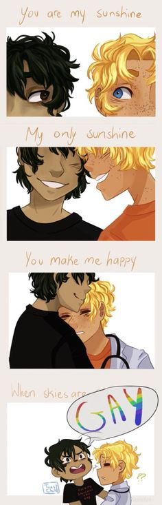 """This was butiful and I'm like """"awe! It's thier ship song!"""" then Nico yells gay and I'm loosing my shit. Percy Jackson Fandom, Percy Jackson Ships, Percy Jackson Fan Art, Percy Jackson Memes, Rick Riordan Series, Rick Riordan Books, Solangelo, Percabeth, Magnus Chase"""