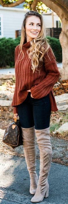 40 Latest Knee-High Boots Outfit Ideas #Boots #Knee-High Boots