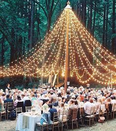 A beautiful canopy of lights is all you need to create a magical wedding glow 💛 #Regram @lacedinweddings