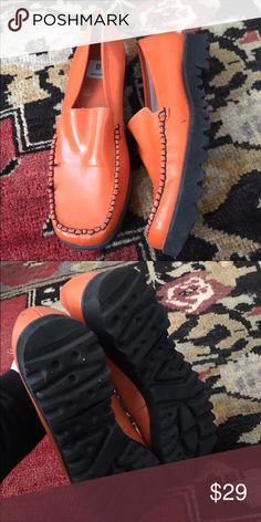 Vintage Orange Loafers Excellent Condition! Pretty orange color. Bakers Shoes Flats & Loafers