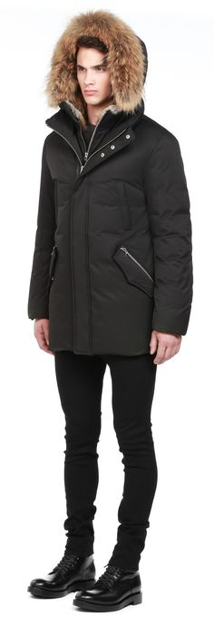 EDWARD-F5 | BLACK LUX DOWN PARKA WITH FUR HOOD FOR MEN | MACKAGE
