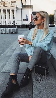 #winter #fashion Plaid grey pants with blue knitted sweater