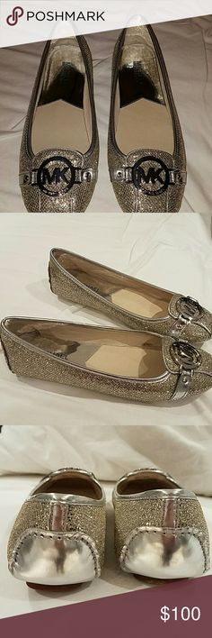 Sliver Michael Kors flats Sliver Michael Kors flats.  Brand new, never worn.  Spice up your jeans, or dress up your dress!  NWOT Michael Kors Shoes Flats & Loafers