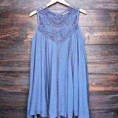 slate blue boho crochet lace dress HC dress?!