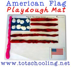 Free American Flag Playdough Mat from Totschooling Educational Activities For Preschoolers, Playdough Activities, Craft Activities For Kids, Preschool Art Projects, Preschool Ideas, Teaching Ideas, Tot School, Toddler Fun, American Flag
