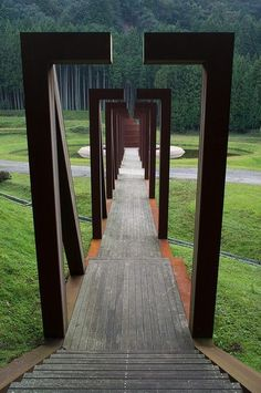 Corten Steel Bridge to Step Pagoda, Murou Art Forest, Nara, Japan designed by Dani Karavan