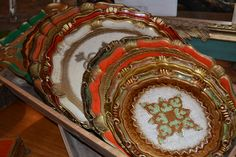 Hand painted Italian trays with gilt wood details and gorgeous motifs | $75 - $100 | #gifts #decor | http://www.bevolo.com/finishing-touches |