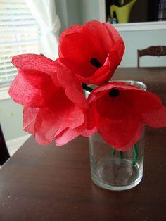 spring kids craft: tissue paper tulips