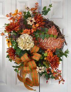 Fall Hydrangea Autumn Wreath Autumn Wreath by GaslightFloralDesign