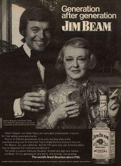 "BETTE DAVIS & ROBERT WAGNER for Jim Beam bourbon - Visit ""Virtual Scrapbook"" by Gerald Lyda on Pinterest for over 170,000 categorized celebrity images."
