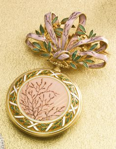 Swiss - fine yellow gold and enamel Pendant Watch with Brooch circa 1890