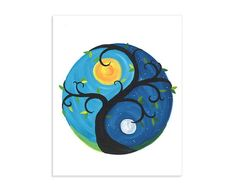 Yin Yang Day & Night ~ Whimsical Colorful Moon and Sun Art Print Mini Canvas Art, Small Canvas, Diy Canvas, Yen Yang, Color Art Lessons, Yin Yang Balance, Yin Yang Art, Turtle Painting, Rock Painting