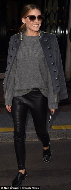 Structure: The former The City star layered a grey sweater underneath a conductor-style jacket, lined with large buttons