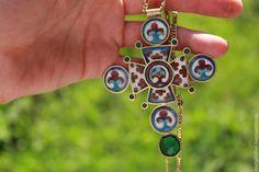 Купить Византийский Крест - Горячая эмаль, перегородчатая эмаль, ювелирная эмаль, византия, стильное украшение