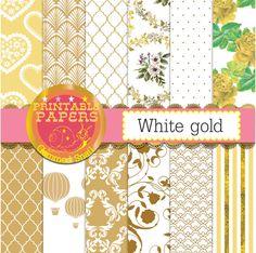 Gold digital paper gold scrapbook paper white gold by GemmedSnail