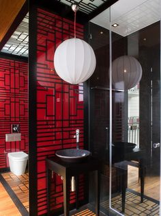 Contemporary Chinese Geometric Pattern With Red Colored Asian Decor Bathroom Anese Style