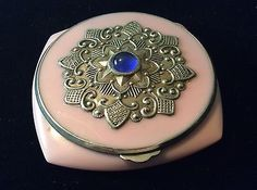 Vintage Russian Celluloid Powder Compact Embossed Silver Application Paste Stone