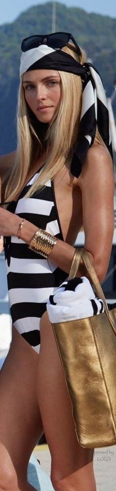 ~ Black and white stripes are always en vogue for summer.  A touch of gold never hurts, either.  By the way, please let the captain know I'm ready to set sail for [the isle of] Capri! ~