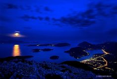 "Greece. This photo is a night shot (under the full moon) taken from Skaroi mountain, Lefkada island, Ionian Sea, Eptanisa (""Seven Islands"")"