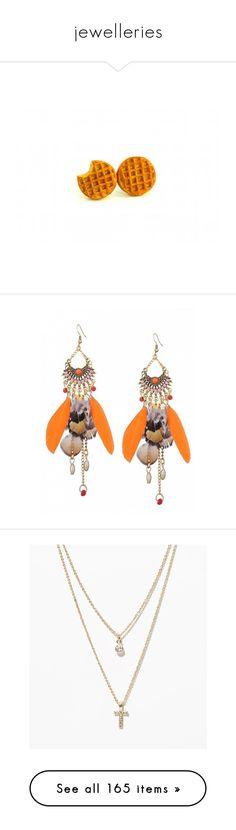 """jewelleries"" by lianafourmouzi ❤ liked on Polyvore featuring jewelry, earrings, earring jewelry, boho jewellery, boho jewelry, bohemian style jewelry, feather earrings, orange earrings, necklaces and t"