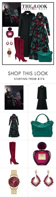 """""""Madeleine Print Shirt Dress Look"""" by romaboots-1 ❤ liked on Polyvore featuring RED Valentino, Liebeskind, Oscar de la Renta, Henry London and Effy Jewelry"""