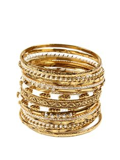 Set of 15 Gold & Ivory Bangle Bracelets by Amrita Singh at Gilt