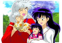 Inuyasha and Kagome with their children
