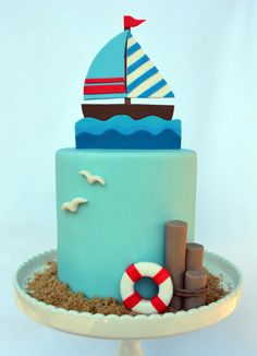 Love a nautical themed birthday. Created by Adorn Cake Design.