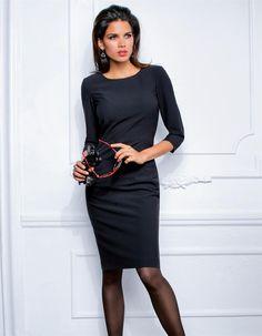 Etuikleid in den Farben rot, schwarz - im MADELEINE Mode Onlineshop