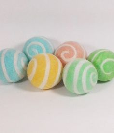 Sherbert Pastel Swirl Designer Dryer Balls Needle Felted Wet Felted Laundry Aid Eco-Friendly Sustainable - pinned by pin4etsy.com