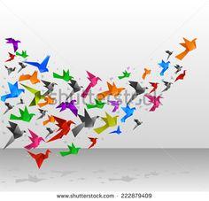 Origami Birds Flying Upwards vector illustration.