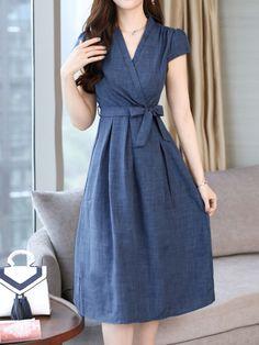 Surplice Belt Plain Maxi Dress   #MaxiDress