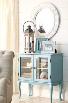 The Toscana Cabinet brings home petite French farmhouse charm - Could repaint the little curio cabinet I have like this!
