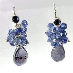 Iolite and Sterling Silver Cluster Dangle Earring - 1.25""