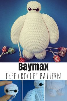 Crochet Baymax amigurumi from Big Hero 6 with this free pattern Crochet Amigurumi Free Patterns, Crochet Animal Patterns, Crochet Bear, Stuffed Animal Patterns, Cute Crochet, Crochet Crafts, Crochet Projects, Baymax, Totoro