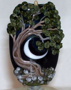 WSTGA~FOREST SUMMERS EVE~TREE FLORAL MOON handmade lampwork focal glass bead SRA #Lampwork By Molly Cooley