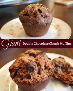 giant double chocolate chunk muffins