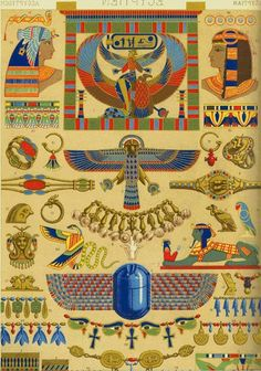 Another type of old art that I love is any type of ornamentation. It could be on a cieling, or in an old manuscript, or even carved into an original piece of jewelry. What I am showing on this lens is a series of illustrations from a French set of. Egyptian Mythology, Egyptian Symbols, Ancient Egyptian Art, Ancient History, European History, Ancient Aliens, Ancient Greece, American History, Art Ancien