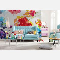 Passion Wall Mural by Brewster Home Fashions Wall Design, House Design, Piece A Vivre, Interior Decorating, Interior Design, Diy Décoration, Floral Wall, Wall Wallpaper, Watercolor Wallpaper